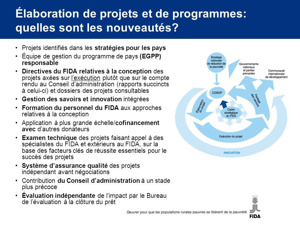 Facteurs clés de réussite pour les projets et les programmes du FIDA 1.Pertinence pour les pays, appropriation et partenariats solides 2.Prise en compte de la pauvreté, du développement social et du ciblage 3.Alignement sur le Cadre stratégique du FIDA, analyse des politiques de développement rural, enseignements tirés et cadre de résultats du pays 4.Dispositions relatives à lexécution et aspects institutionnels solides 5.Prise en compte des risques et de la durabilité 6.Intégration de linnovation, de lapprentissage et de la gestion des savoirs FCR