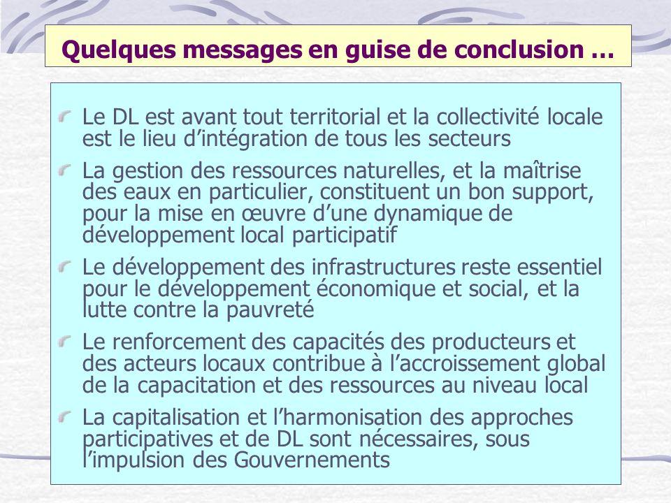 Quelques messages en guise de conclusion … Le DL est avant tout territorial et la collectivité locale est le lieu dintégration de tous les secteurs La