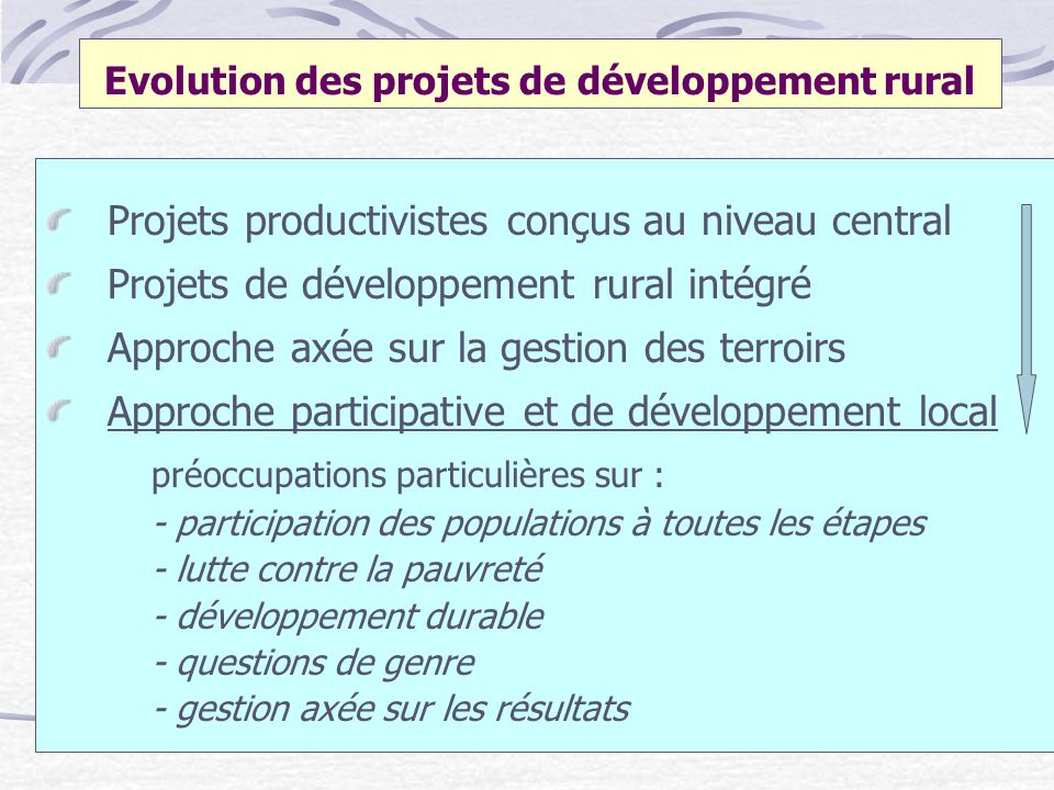 Evolution des projets de développement rural Projets productivistes conçus au niveau central Projets de développement rural intégré Approche axée sur