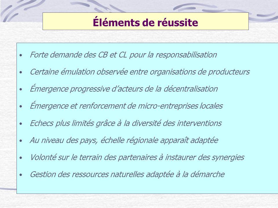 Éléments de réussite Forte demande des CB et CL pour la responsabilisation Certaine émulation observée entre organisations de producteurs Émergence pr