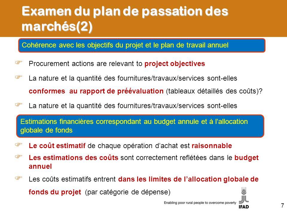 Examen du plan de passation des marchés(2) Procurement actions are relevant to project objectives La nature et la quantité des fournitures/travaux/services sont-elles conformes au rapport de préévaluation (tableaux détaillés des coûts).