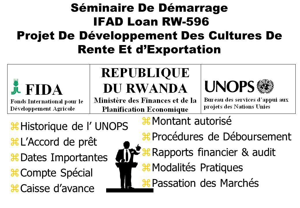 Séminaire De Démarrage IFAD Loan RW-596 Projet De Développement Des Cultures De Rente Et dExportation zHistorique de l UNOPS zLAccord de prêt zDates I