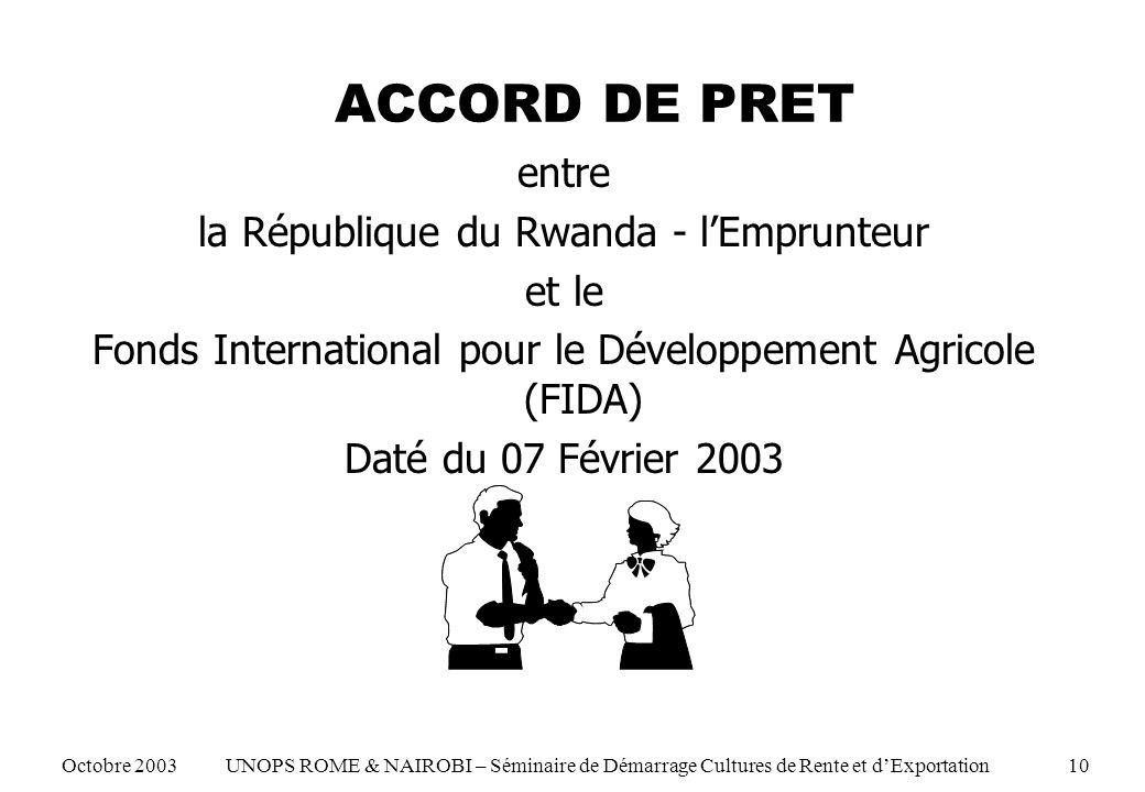 ACCORD DE PRET entre la République du Rwanda - lEmprunteur et le Fonds International pour le Développement Agricole (FIDA) Daté du 07 Février 2003 Octobre 2003 UNOPS ROME & NAIROBI – Séminaire de Démarrage Cultures de Rente et dExportation 10