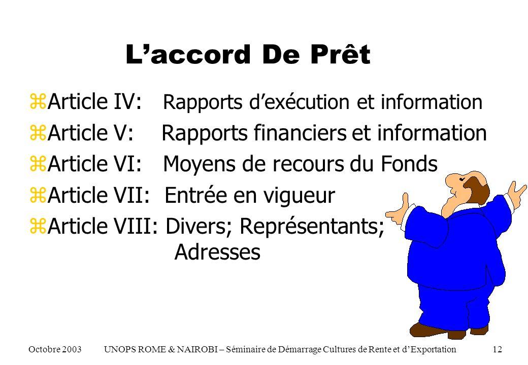 zArticle IV: Rapports dexécution et information zArticle V: Rapports financiers et information zArticle VI: Moyens de recours du Fonds zArticle VII: E
