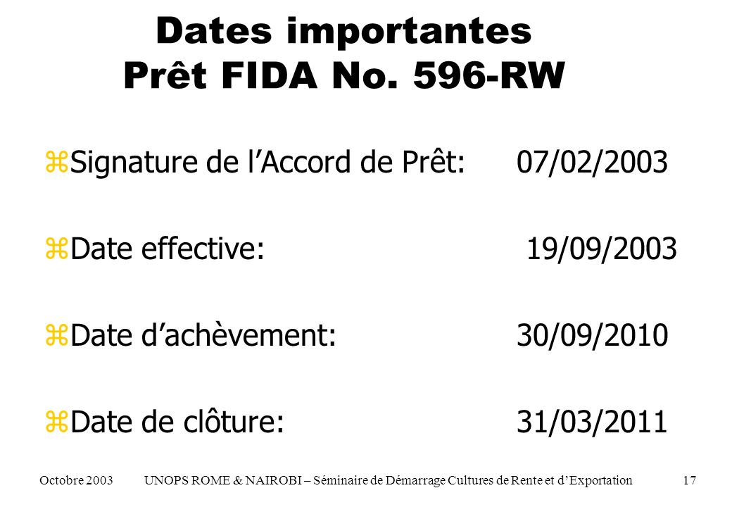 Dates importantes Prêt FIDA No.
