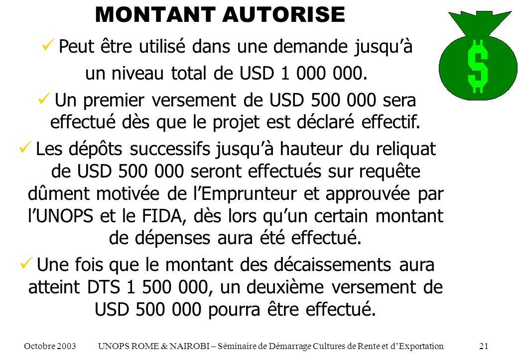 MONTANT AUTORISE Peut être utilisé dans une demande jusquà un niveau total de USD 1 000 000. Un premier versement de USD 500 000 sera effectué dès que