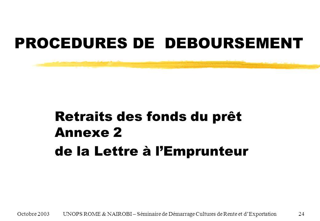 PROCEDURES DE DEBOURSEMENT Retraits des fonds du prêt Annexe 2 de la Lettre à lEmprunteur Octobre 2003 UNOPS ROME & NAIROBI – Séminaire de Démarrage Cultures de Rente et dExportation 24