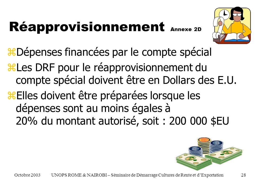 Réapprovisionnement Annexe 2D zDépenses financées par le compte spécial zLes DRF pour le réapprovisionnement du compte spécial doivent être en Dollars des E.U.