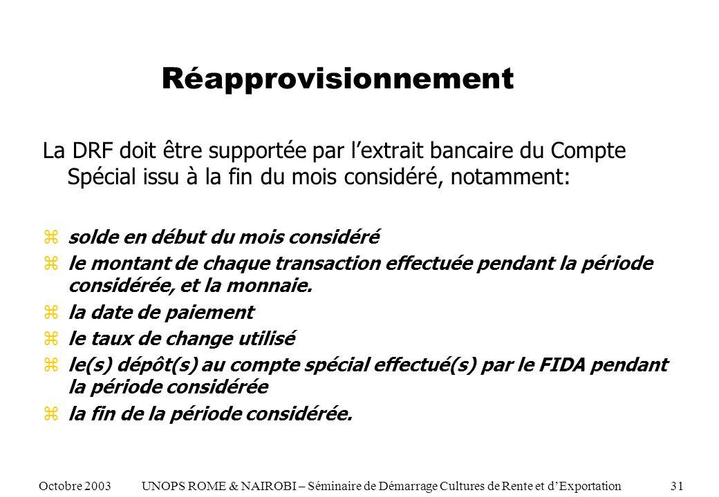 Réapprovisionnement La DRF doit être supportée par lextrait bancaire du Compte Spécial issu à la fin du mois considéré, notamment: zsolde en début du