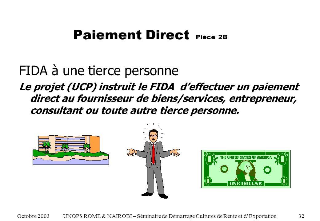 Paiement Direct Pièce 2B FIDA à une tierce personne Le projet (UCP) instruit le FIDA deffectuer un paiement direct au fournisseur de biens/services, entrepreneur, consultant ou toute autre tierce personne.