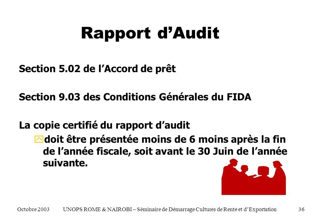 Rapport dAudit Section 5.02 de lAccord de prêt Section 9.03 des Conditions Générales du FIDA La copie certifié du rapport daudit ydoit être présentée moins de 6 moins après la fin de lannée fiscale, soit avant le 30 Juin de lannée suivante.