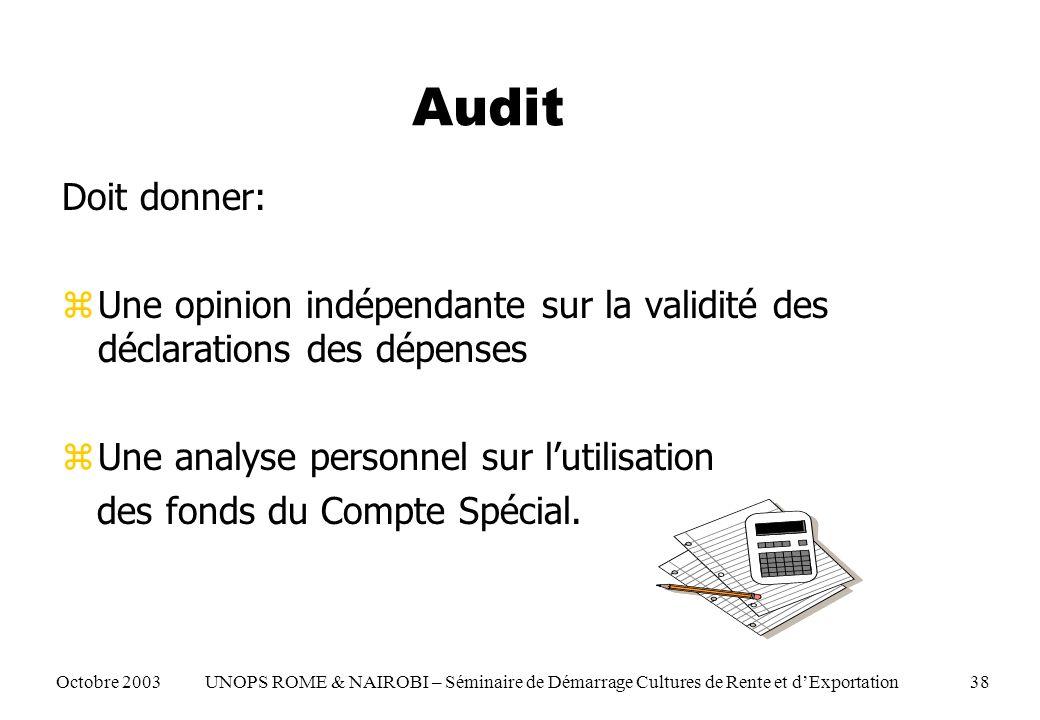 Audit Doit donner: zUne opinion indépendante sur la validité des déclarations des dépenses zUne analyse personnel sur lutilisation des fonds du Compte Spécial.
