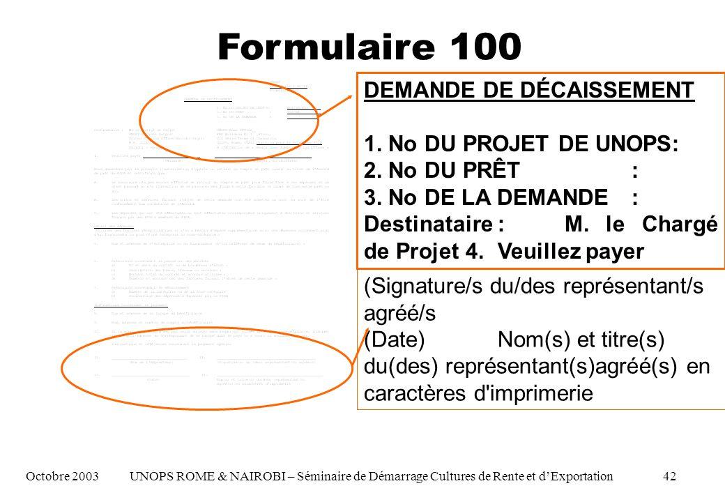 DEMANDE DE DÉCAISSEMENT 1. No DU PROJET DE UNOPS: 2.
