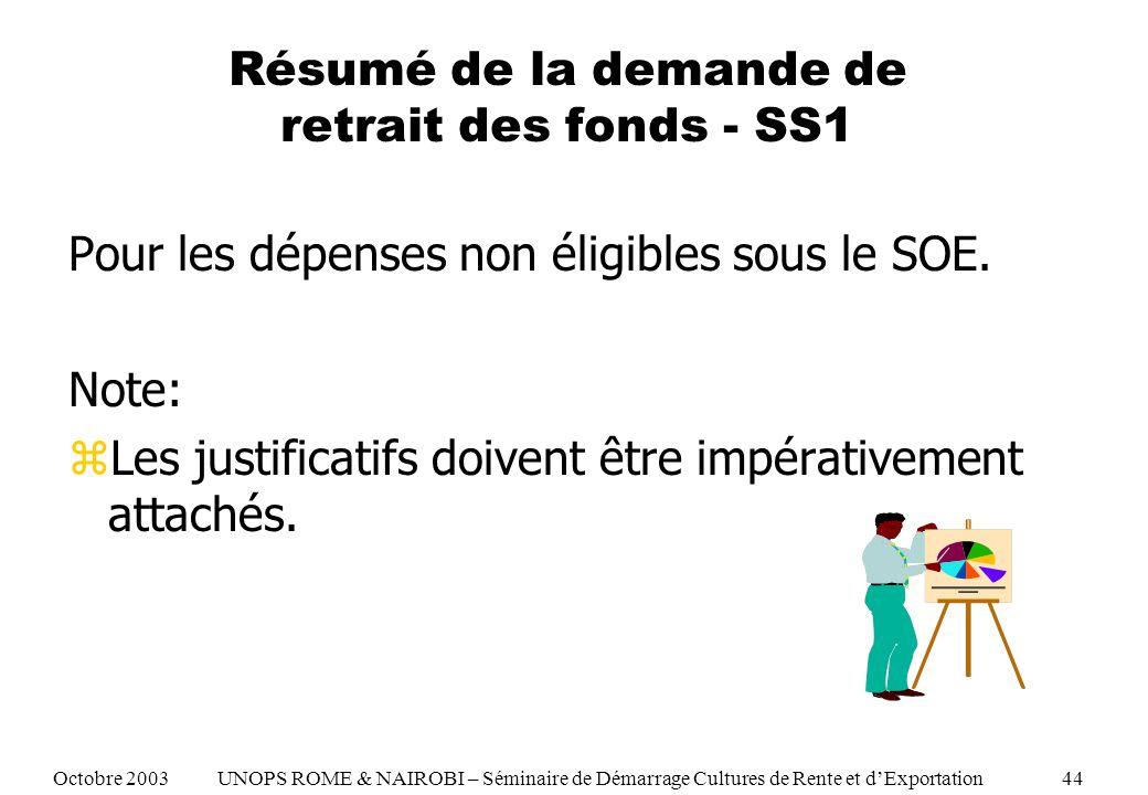 Résumé de la demande de retrait des fonds - SS1 Pour les dépenses non éligibles sous le SOE.