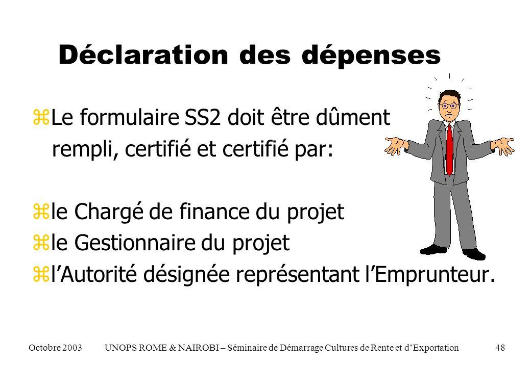 Déclaration des dépenses zLe formulaire SS2 doit être dûment rempli, certifié et certifié par: zle Chargé de finance du projet zle Gestionnaire du projet zlAutorité désignée représentant lEmprunteur.