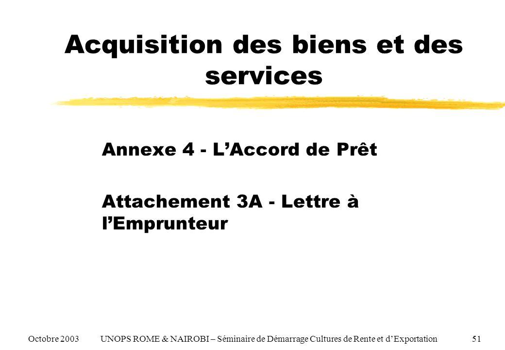 Acquisition des biens et des services Annexe 4 - LAccord de Prêt Attachement 3A - Lettre à lEmprunteur Octobre 2003 UNOPS ROME & NAIROBI – Séminaire d