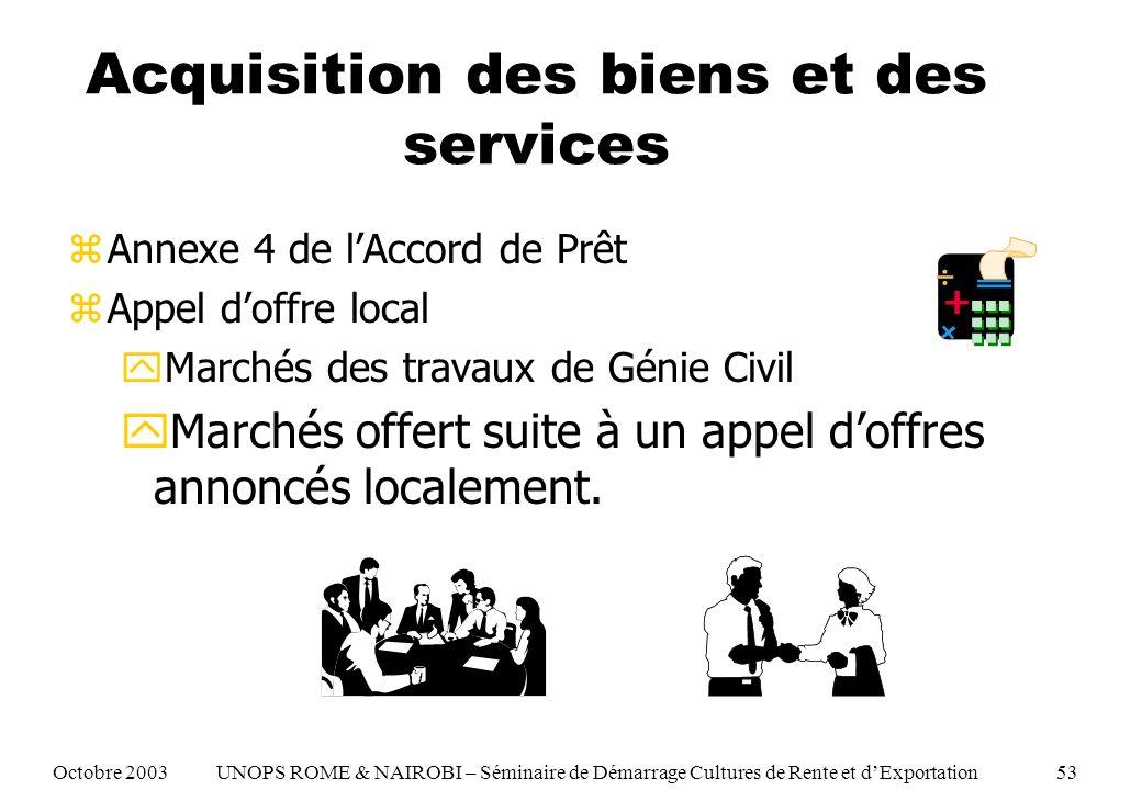 Acquisition des biens et des services zAnnexe 4 de lAccord de Prêt zAppel doffre local yMarchés des travaux de Génie Civil yMarchés offert suite à un appel doffres annoncés localement.