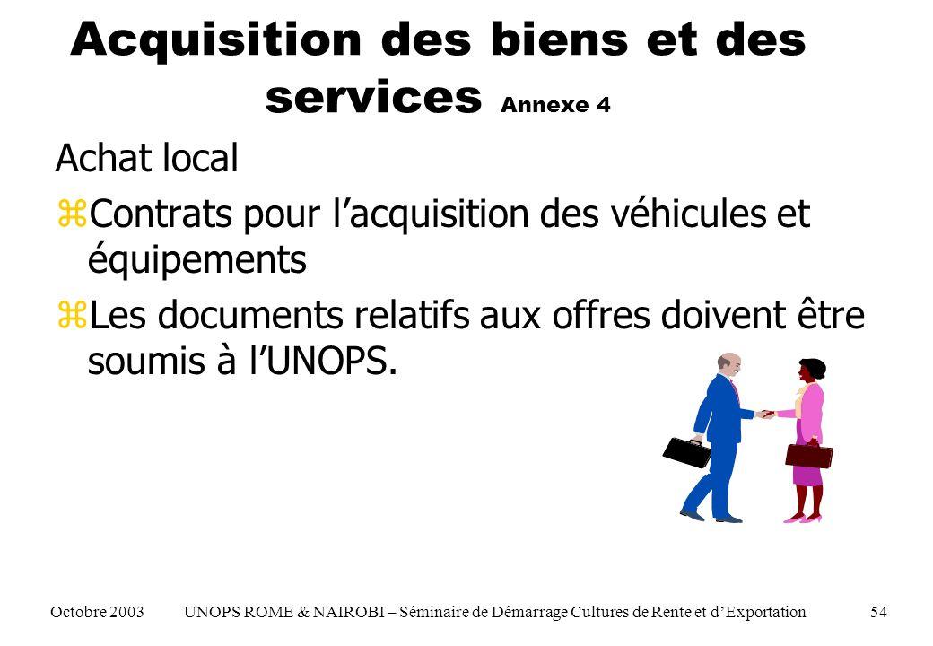 Acquisition des biens et des services Annexe 4 Achat local zContrats pour lacquisition des véhicules et équipements zLes documents relatifs aux offres doivent être soumis à lUNOPS.
