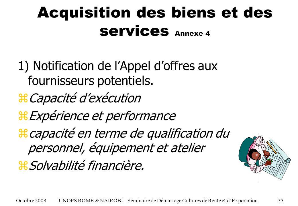 Acquisition des biens et des services Annexe 4 1) Notification de lAppel doffres aux fournisseurs potentiels. zCapacité dexécution zExpérience et perf