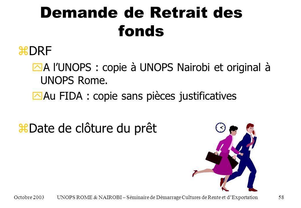 Demande de Retrait des fonds zDRF yA lUNOPS : copie à UNOPS Nairobi et original à UNOPS Rome.