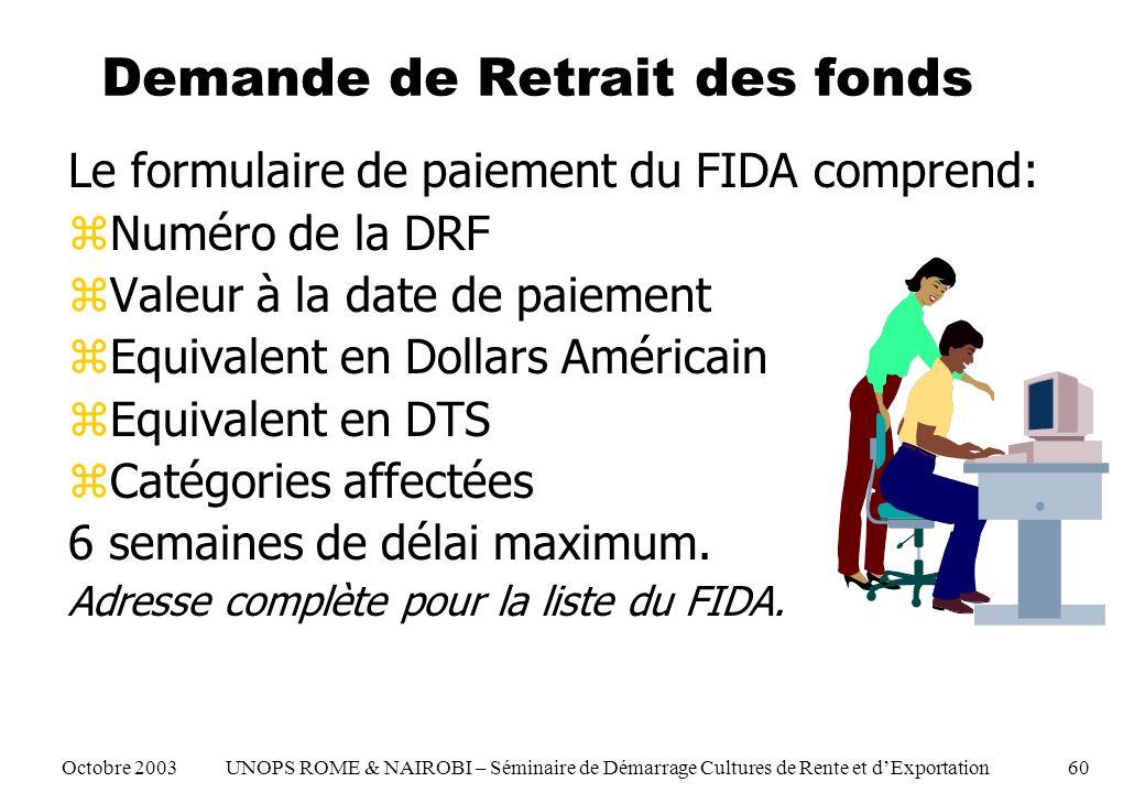 Demande de Retrait des fonds Le formulaire de paiement du FIDA comprend: zNuméro de la DRF zValeur à la date de paiement zEquivalent en Dollars Américain zEquivalent en DTS zCatégories affectées 6 semaines de délai maximum.