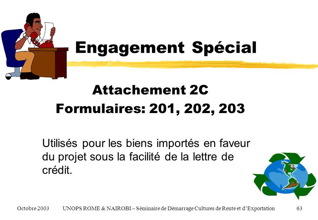 Engagement Spécial Attachement 2C Formulaires: 201, 202, 203 Utilisés pour les biens importés en faveur du projet sous la facilité de la lettre de crédit.