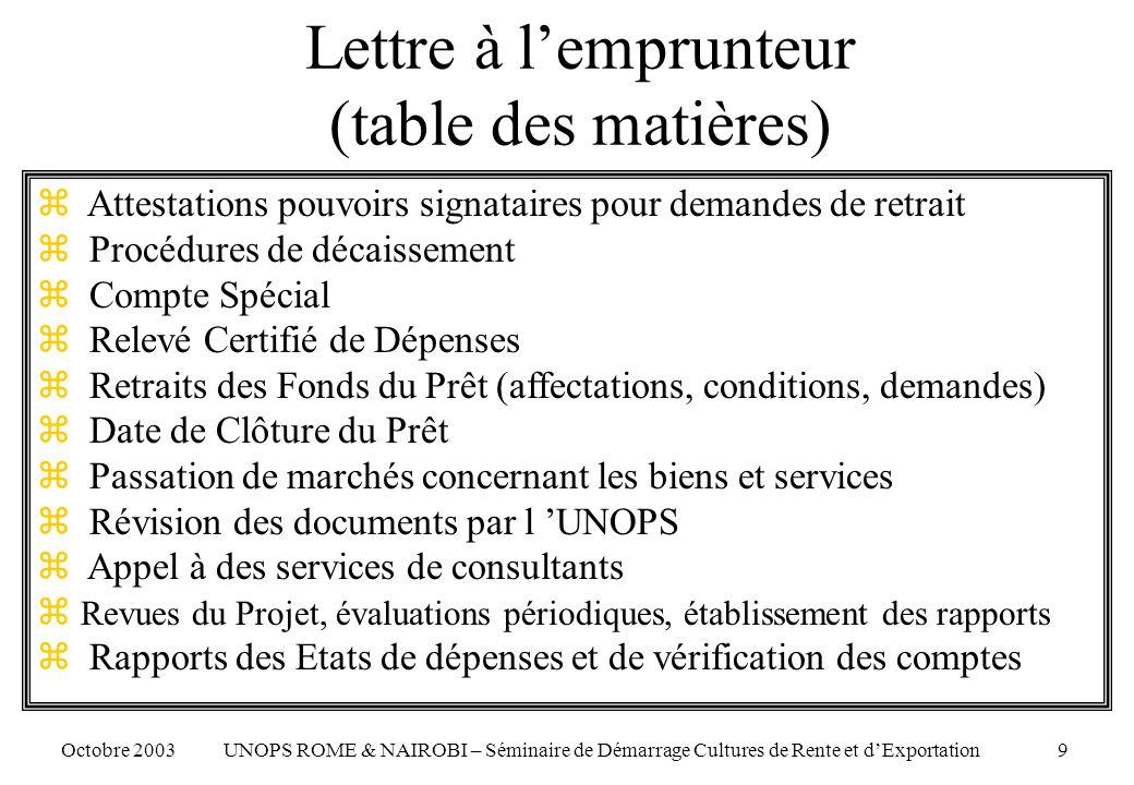 Registre des contrats - RdC Octobre 2003 UNOPS ROME & NAIROBI – Séminaire de Démarrage Cultures de Rente et dExportation 50