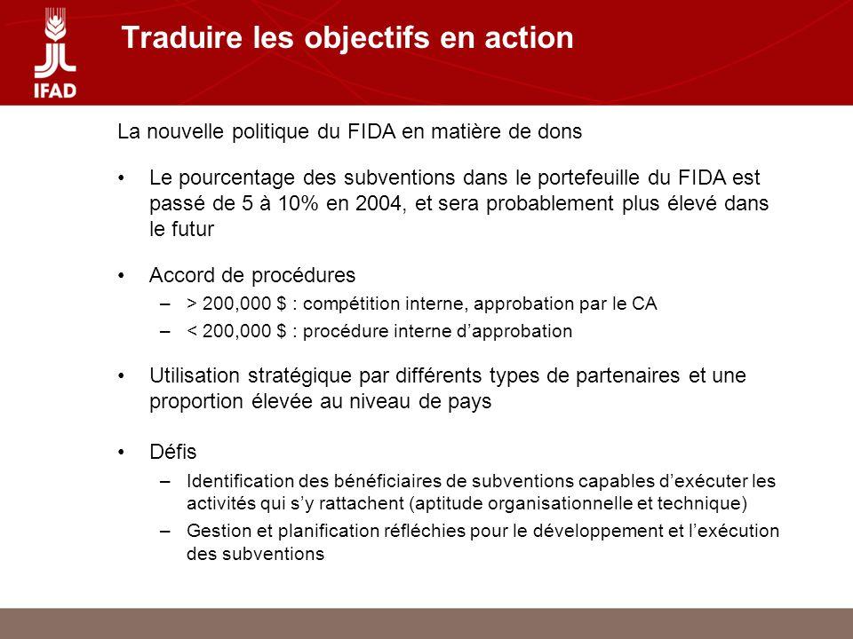 Traduire les objectifs en action La nouvelle politique du FIDA en matière de dons Le pourcentage des subventions dans le portefeuille du FIDA est passé de 5 à 10% en 2004, et sera probablement plus élevé dans le futur Accord de procédures –> 200,000 $ : compétition interne, approbation par le CA –< 200,000 $ : procédure interne dapprobation Utilisation stratégique par différents types de partenaires et une proportion élevée au niveau de pays Défis –Identification des bénéficiaires de subventions capables dexécuter les activités qui sy rattachent (aptitude organisationnelle et technique) –Gestion et planification réfléchies pour le développement et lexécution des subventions