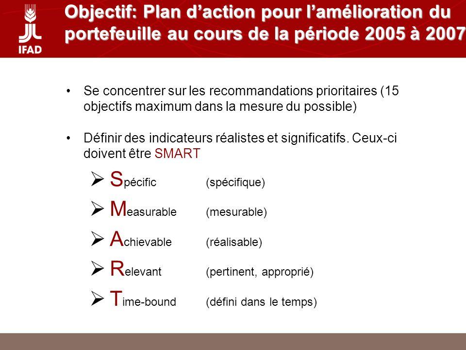 Objectif: Plan daction pour lamélioration du portefeuille au cours de la période 2005 à 2007 Se concentrer sur les recommandations prioritaires (15 objectifs maximum dans la mesure du possible) Définir des indicateurs réalistes et significatifs.