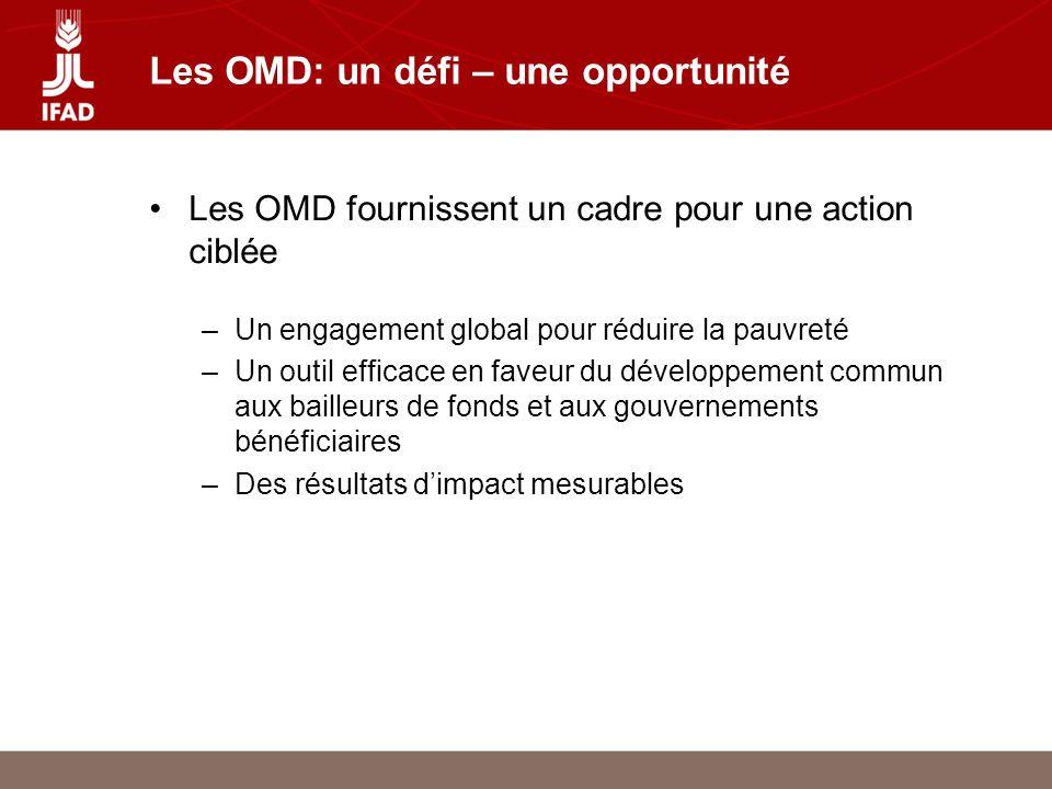 Les OMD: un défi – une opportunité Les OMD fournissent un cadre pour une action ciblée –Un engagement global pour réduire la pauvreté –Un outil efficace en faveur du développement commun aux bailleurs de fonds et aux gouvernements bénéficiaires –Des résultats dimpact mesurables