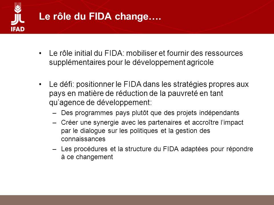Le rôle du FIDA change….