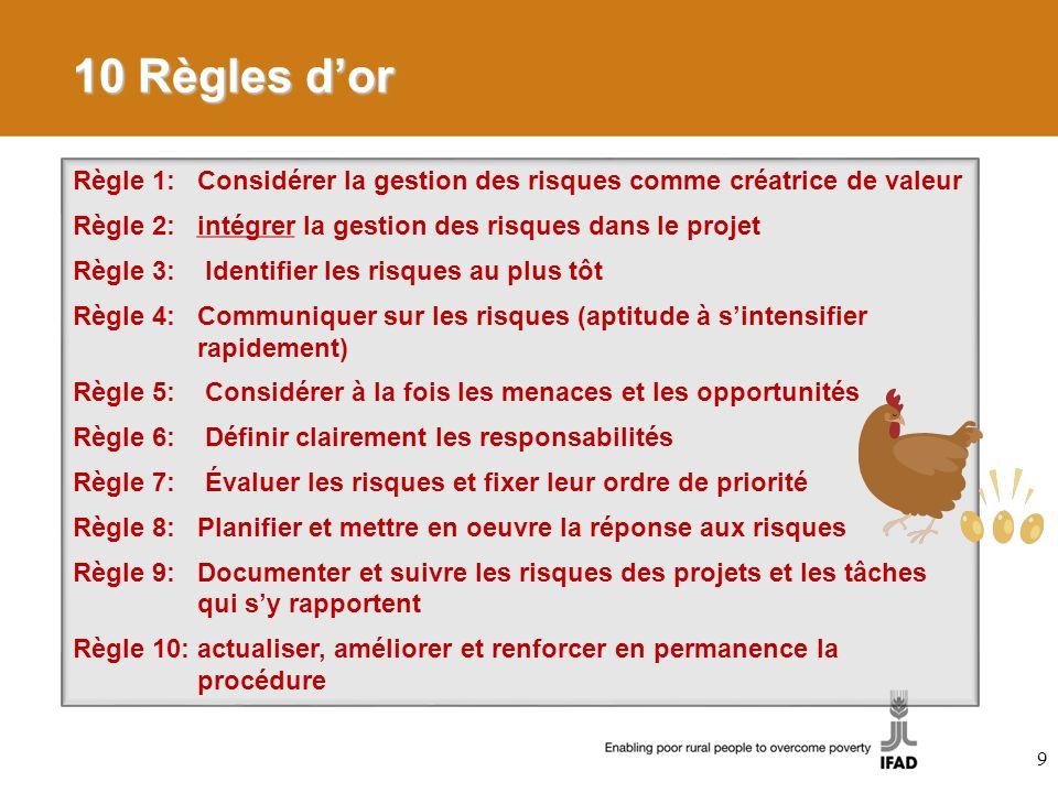 9 10 Règles dor Règle 1: Considérer la gestion des risques comme créatrice de valeur Règle 2: intégrer la gestion des risques dans le projet Règle 3: Identifier les risques au plus tôt Règle 4: Communiquer sur les risques (aptitude à sintensifier rapidement) Règle 5: Considérer à la fois les menaces et les opportunités Règle 6: Définir clairement les responsabilités Règle 7: Évaluer les risques et fixer leur ordre de priorité Règle 8: Planifier et mettre en oeuvre la réponse aux risques Règle 9: Documenter et suivre les risques des projets et les tâches qui sy rapportent Règle 10: actualiser, améliorer et renforcer en permanence la procédure