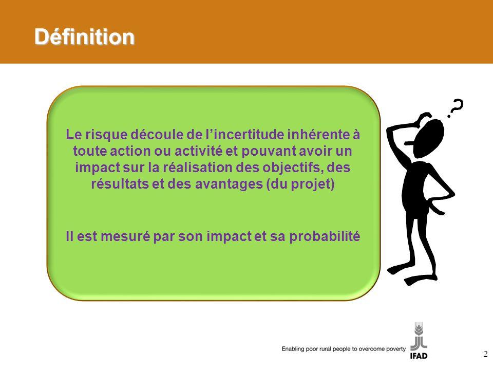 2 Définition Le risque découle de lincertitude inhérente à toute action ou activité et pouvant avoir un impact sur la réalisation des objectifs, des résultats et des avantages (du projet) Il est mesuré par son impact et sa probabilité