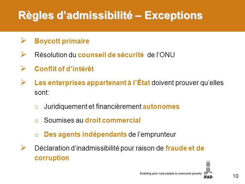 Règles dadmissibilité – Exceptions Boycott primaire Résolution du counseil de sécurité de lONU Conflit of dintérêt Les enterprises appartenant à lÉtat