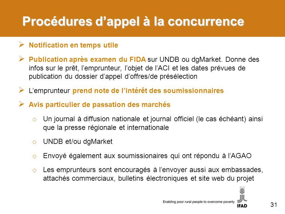 Procédures dappel à la concurrence Notification en temps utile Publication après examen du FIDA sur UNDB ou dgMarket. Donne des infos sur le prêt, lem