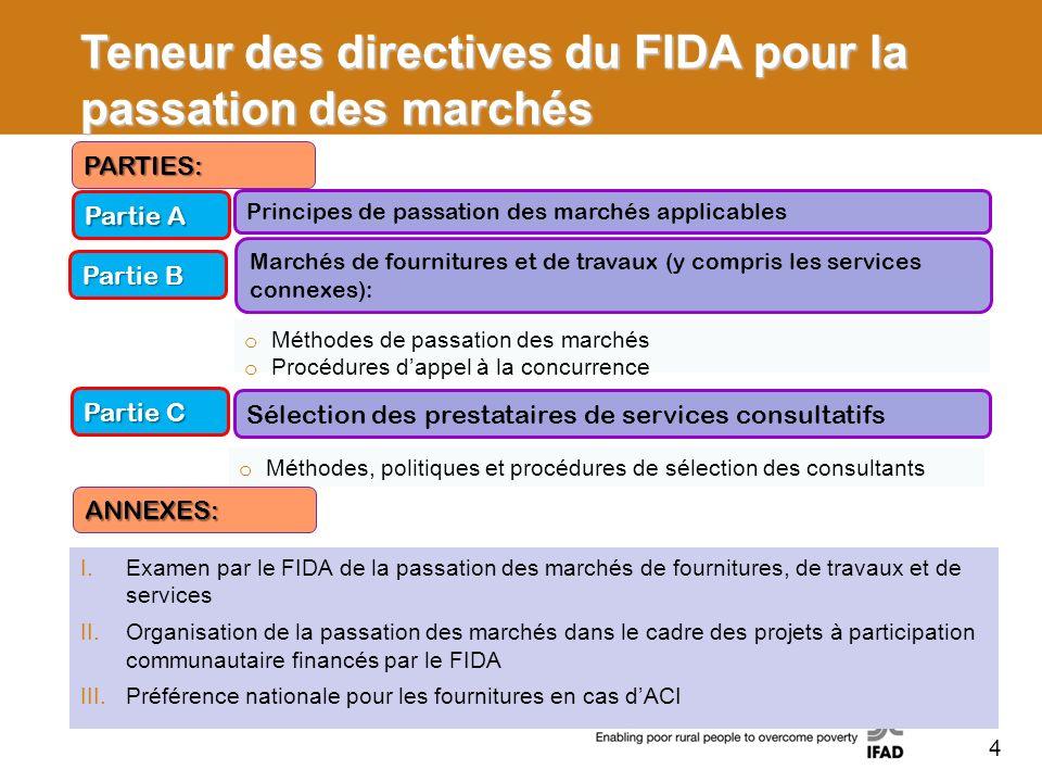 Teneur des directives du FIDA pour la passation des marchés Partie A Partie B Principes de passation des marchés applicables Marchés de fournitures et