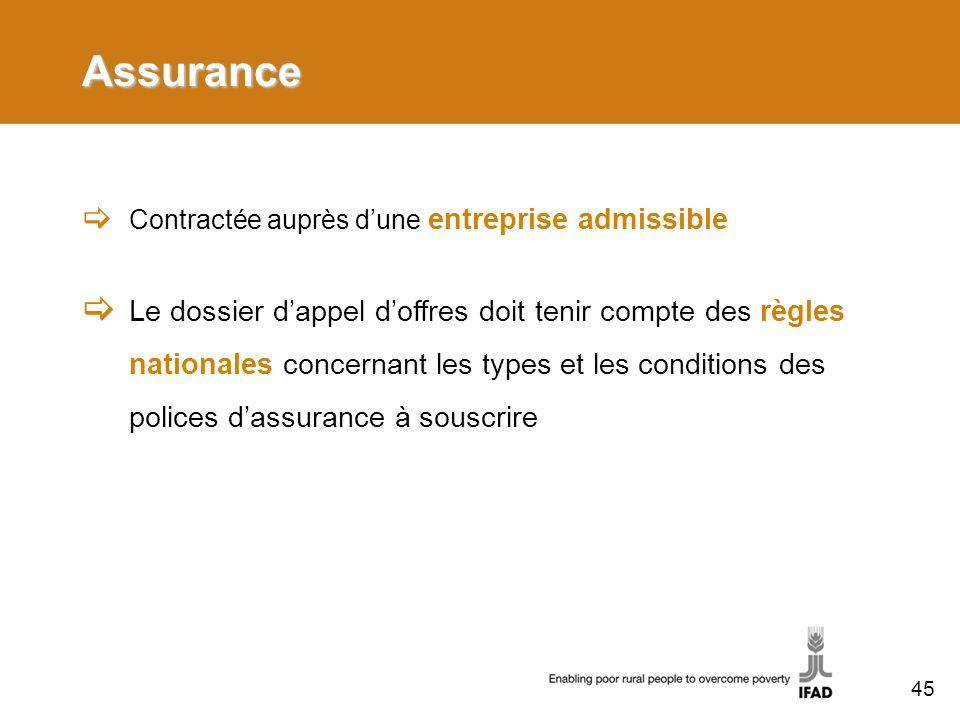 Assurance Contractée auprès dune entreprise admissible Le dossier dappel doffres doit tenir compte des règles nationales concernant les types et les c