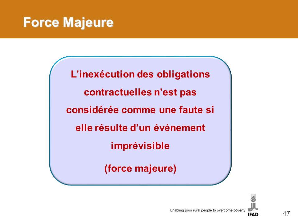 Force Majeure Linexécution des obligations contractuelles nest pas considérée comme une faute si elle résulte dun événement imprévisible (force majeure) 47