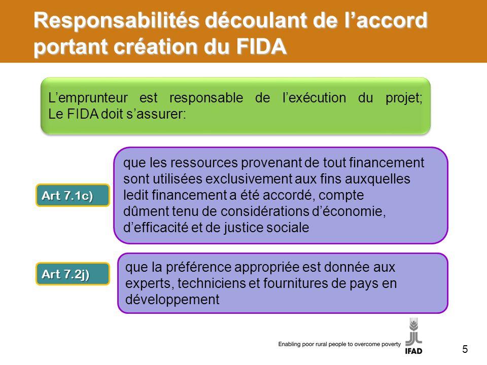 Responsabilités découlant de laccord portant création du FIDA Lemprunteur est responsable de lexécution du projet; Le FIDA doit sassurer: Art 7.1c) qu
