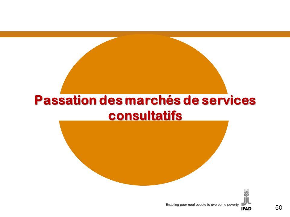 Passation des marchés de services consultatifs 50