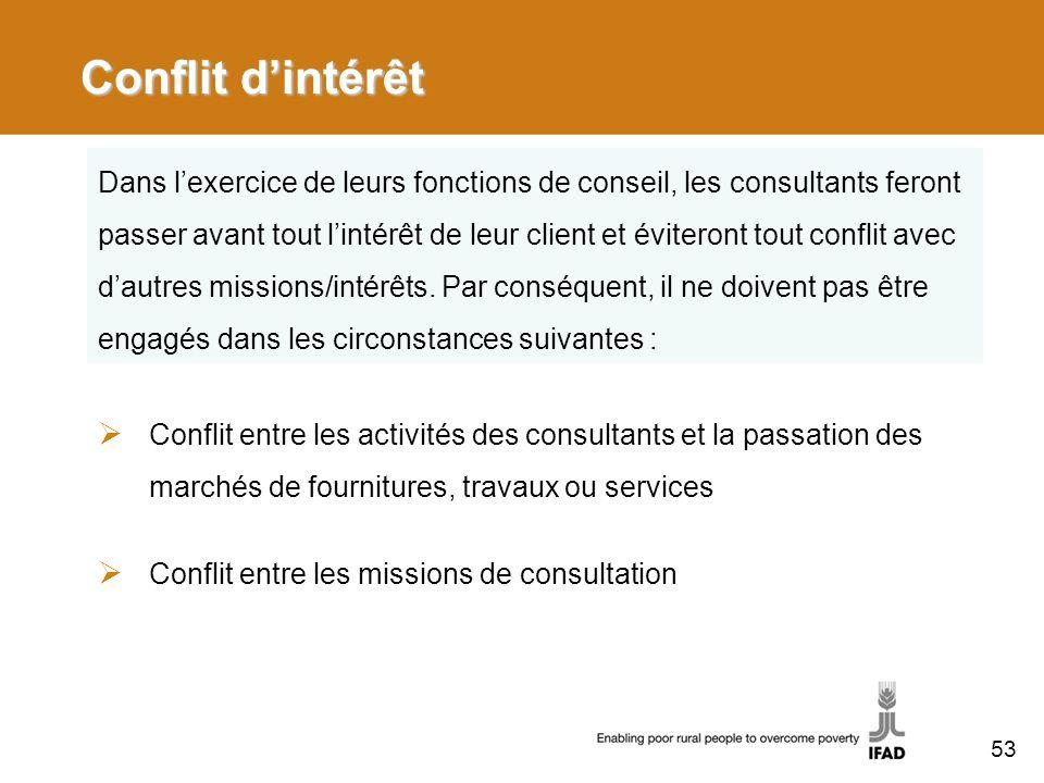 Conflit dintérêt Conflit entre les activités des consultants et la passation des marchés de fournitures, travaux ou services Conflit entre les mission