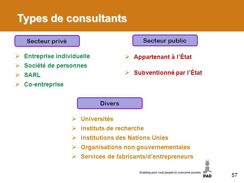 Types de consultants Entreprise individuelle Société de personnes SARL Co-entreprise Secteur privé Divers Universités Instituts de recherche Instituti