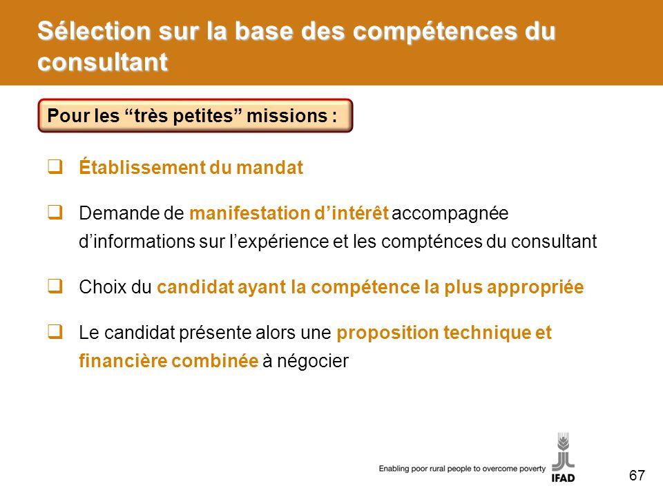 Sélection sur la base des compétences du consultant Établissement du mandat Demande de manifestation dintérêt accompagnée dinformations sur lexpérienc
