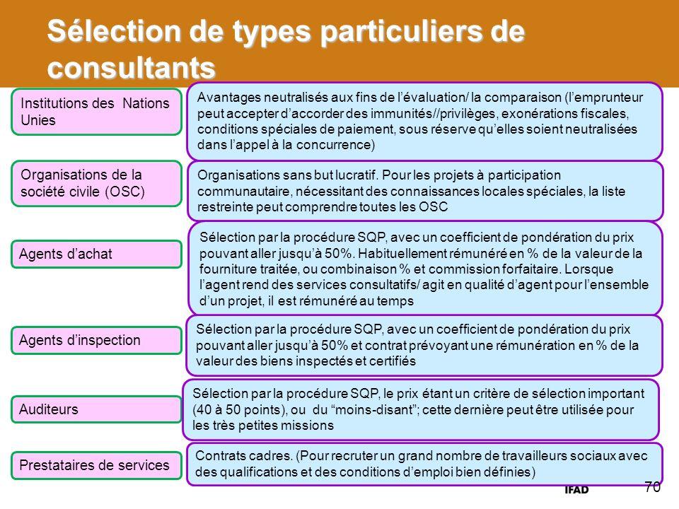 Sélection de types particuliers de consultants Institutions des Nations Unies Avantages neutralisés aux fins de lévaluation/ la comparaison (lemprunte