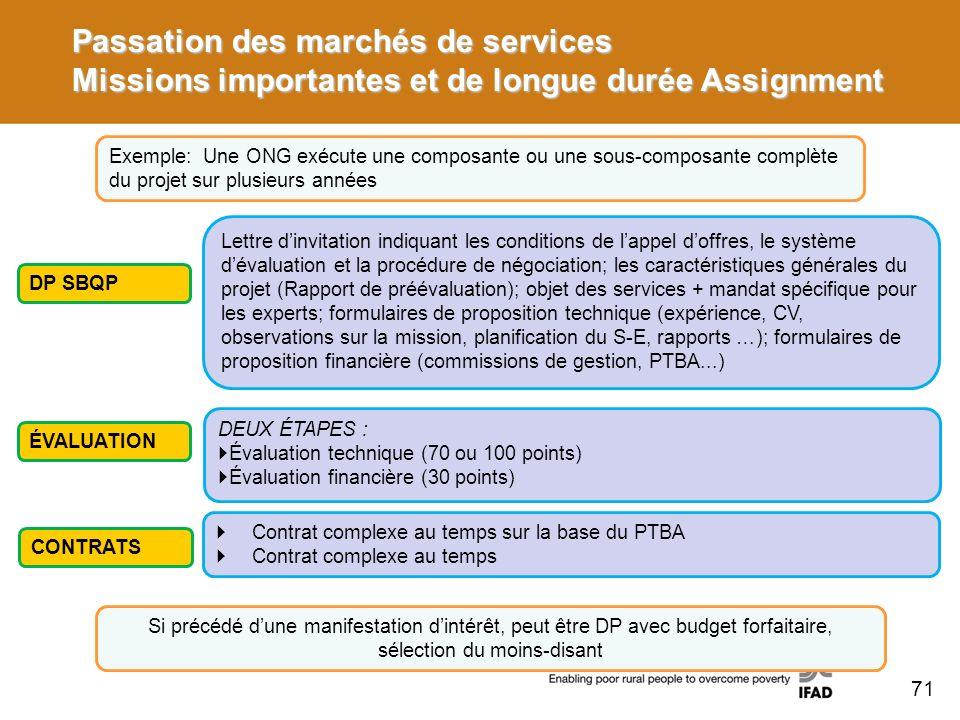 Passation des marchés de services Missions importantes et de longue durée Assignment Exemple: Une ONG exécute une composante ou une sous-composante co