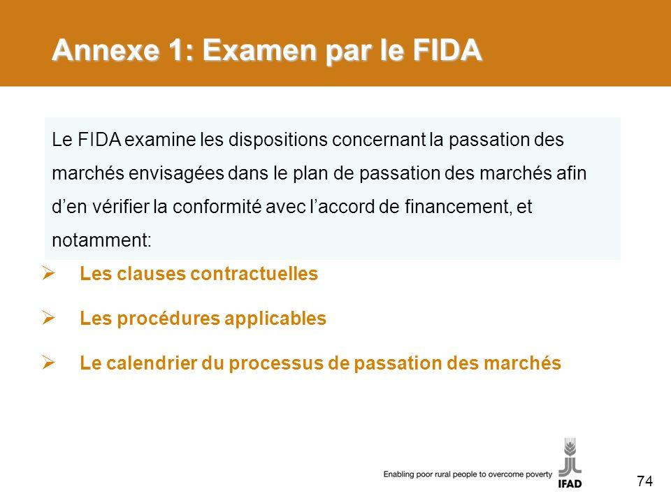 Annexe 1: Examen par le FIDA Les clauses contractuelles Les procédures applicables Le calendrier du processus de passation des marchés Le FIDA examine les dispositions concernant la passation des marchés envisagées dans le plan de passation des marchés afin den vérifier la conformité avec laccord de financement, et notamment: 74