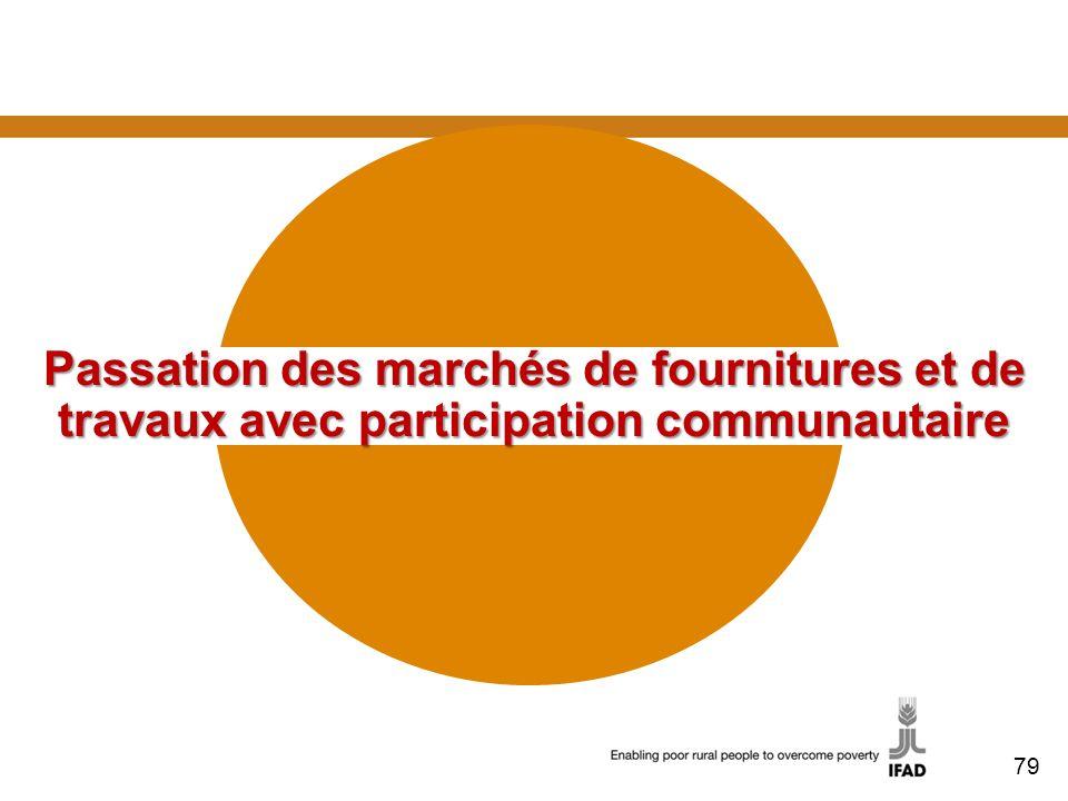 Passation des marchés de fournitures et de travaux avec participation communautaire 79