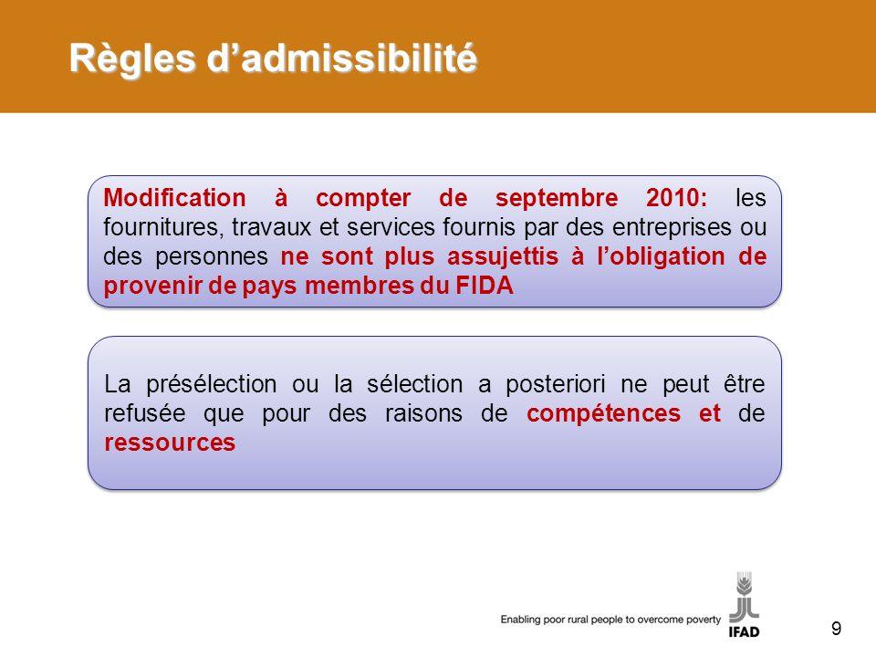 Règles dadmissibilité Modification à compter de septembre 2010: les fournitures, travaux et services fournis par des entreprises ou des personnes ne s