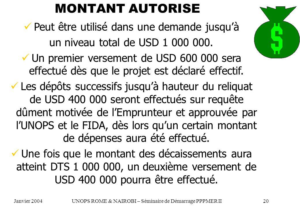 MONTANT AUTORISE Peut être utilisé dans une demande jusquà un niveau total de USD 1 000 000. Un premier versement de USD 600 000 sera effectué dès que