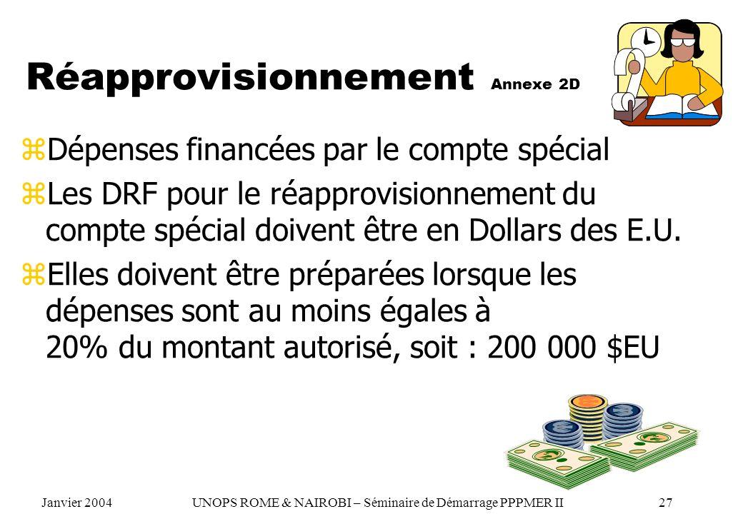 Réapprovisionnement Annexe 2D zDépenses financées par le compte spécial zLes DRF pour le réapprovisionnement du compte spécial doivent être en Dollars